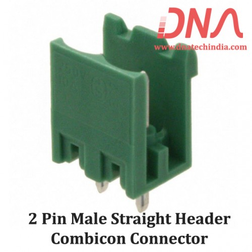 2 Pin Male Straight Header 5.08 mm pitch (Combicon Connector)