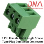 3 Pin Female Right Angle Screwable Plug 5.08mm (Combicon Connector)