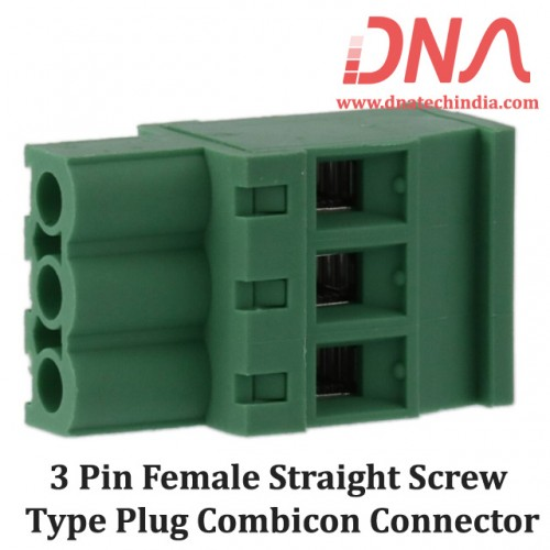 3 Pin Female Straight Screwable Plug 5.08mm (Combicon Connector)