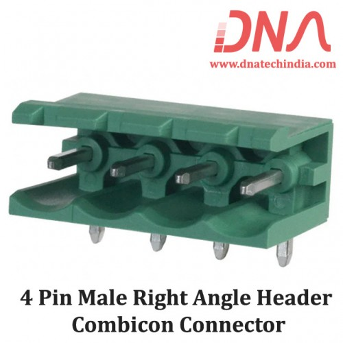 4 Pin Male Right Angle Header 5.08 mm pitch (Combicon Connector)