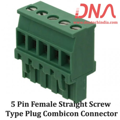 5 Pin Female Straight Screwable Plug 5.08mm (Combicon Connector)