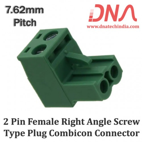 2 Pin Female Right Angle Screwable Plug 7.62mm (Combicon Connector)