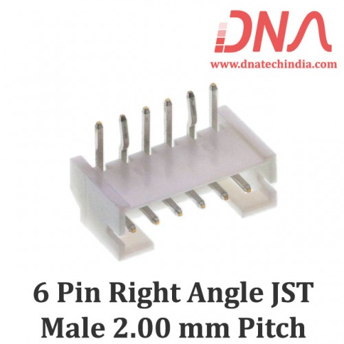 6 Pin 2.0mm JST PH Right Angle Male Connector