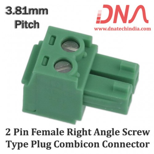 2 Pin Female Right Angle Screwable Plug 3.81mm (Combicon Connector)
