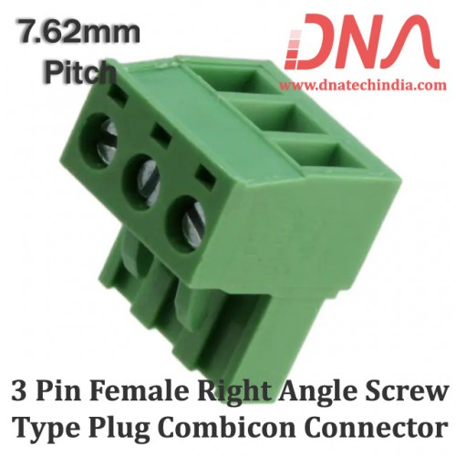 3 Pin Female Right Angle Screwable Plug 7.62mm (Combicon Connector)
