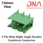 3 Pin Male Right Angle Header 7.62 mm pitch (Combicon Connector)