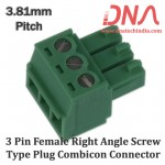 3 Pin Female Right Angle Screwable Plug 3.81mm (Combicon Connector)