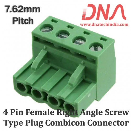 4 Pin Female Right Angle Screwable Plug 7.62mm (Combicon Connector)