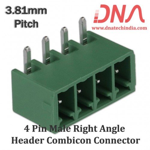 4 Pin Male Right Angle Header 3.81 mm pitch (Combicon Connector)