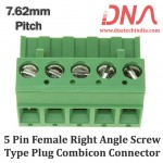 5 Pin Female Right Angle Screwable Plug 7.62mm (Combicon Connector)