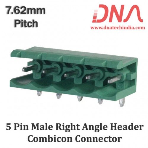 5 Pin Male Right Angle Header 7.62 mm pitch (Combicon Connector)