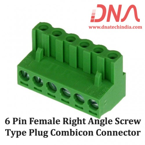 6 Pin Female Right Angle Screwable Plug 5.08mm (Combicon Connector)