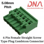 6 Pin Female Straight Screwable Plug 5.08mm (Combicon Connector)