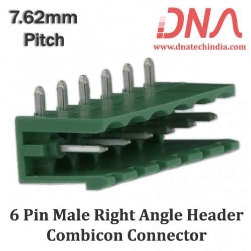6 Pin Male Right Angle Header 7.62 mm pitch (Combicon Connector)