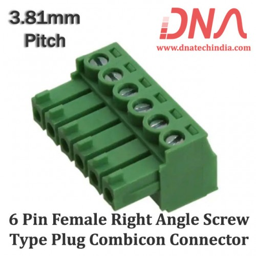 6 Pin Female Right Angle Screwable Plug 3.81mm (Combicon Connector)