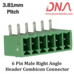 6 Pin Male Right Angle Header 3.81 mm pitch (Combicon Connector)