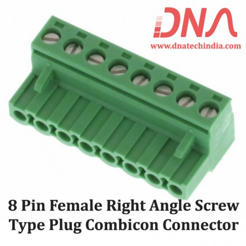 8 Pin Female Right Angle Screwable Plug 5.08mm (Combicon Connector)
