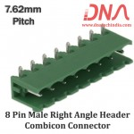 8 Pin Male Right Angle Header 7.62 mm pitch (Combicon Connector)