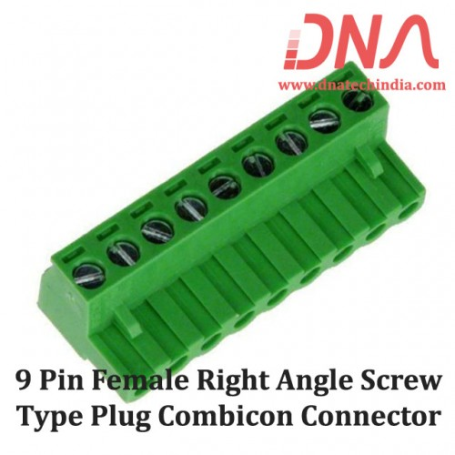 9 Pin Female Right Angle Screwable Plug 5.08mm (Combicon Connector)