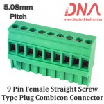 9 Pin Female Straight Screwable Plug 5.08mm (Combicon Connector)