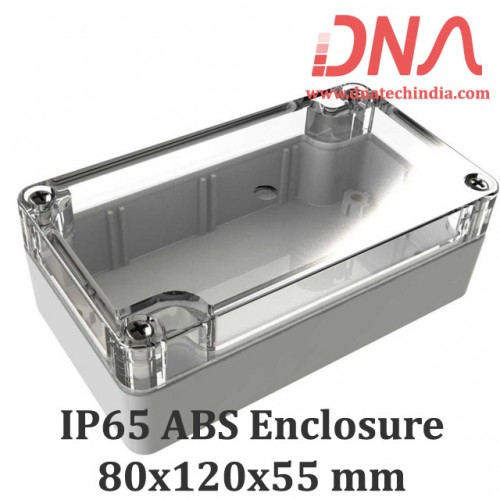 ABS 80x120x55 mm IP65 Enclosure with Transparent Top