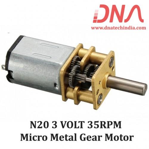 N20 3 VOLT 35RPM Micro Metal Gear Motor