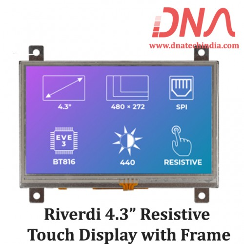 """Riverdi 4.3"""" Resistive Touch Display with Frame"""