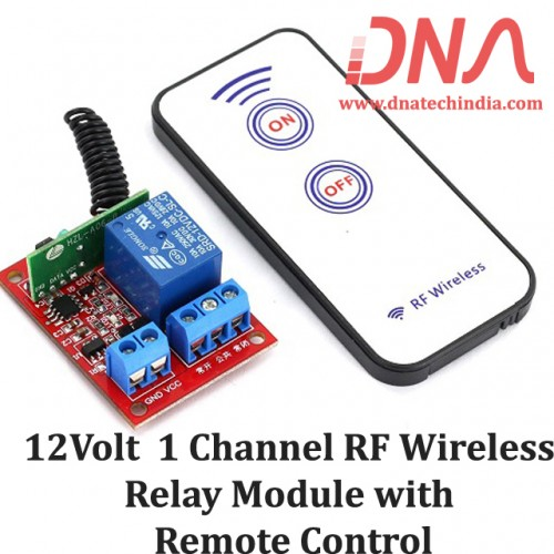 433 Mhz 12 Volt one Channel RF Wireless Relay Module with Remote Control