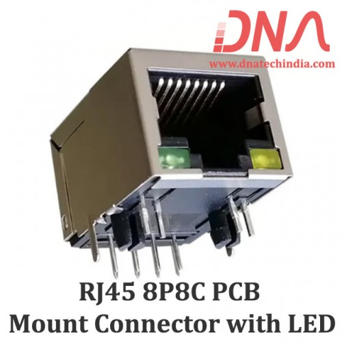 RJ45 - 8P8C PCB Mount Right Angle Socket for LAN with LED