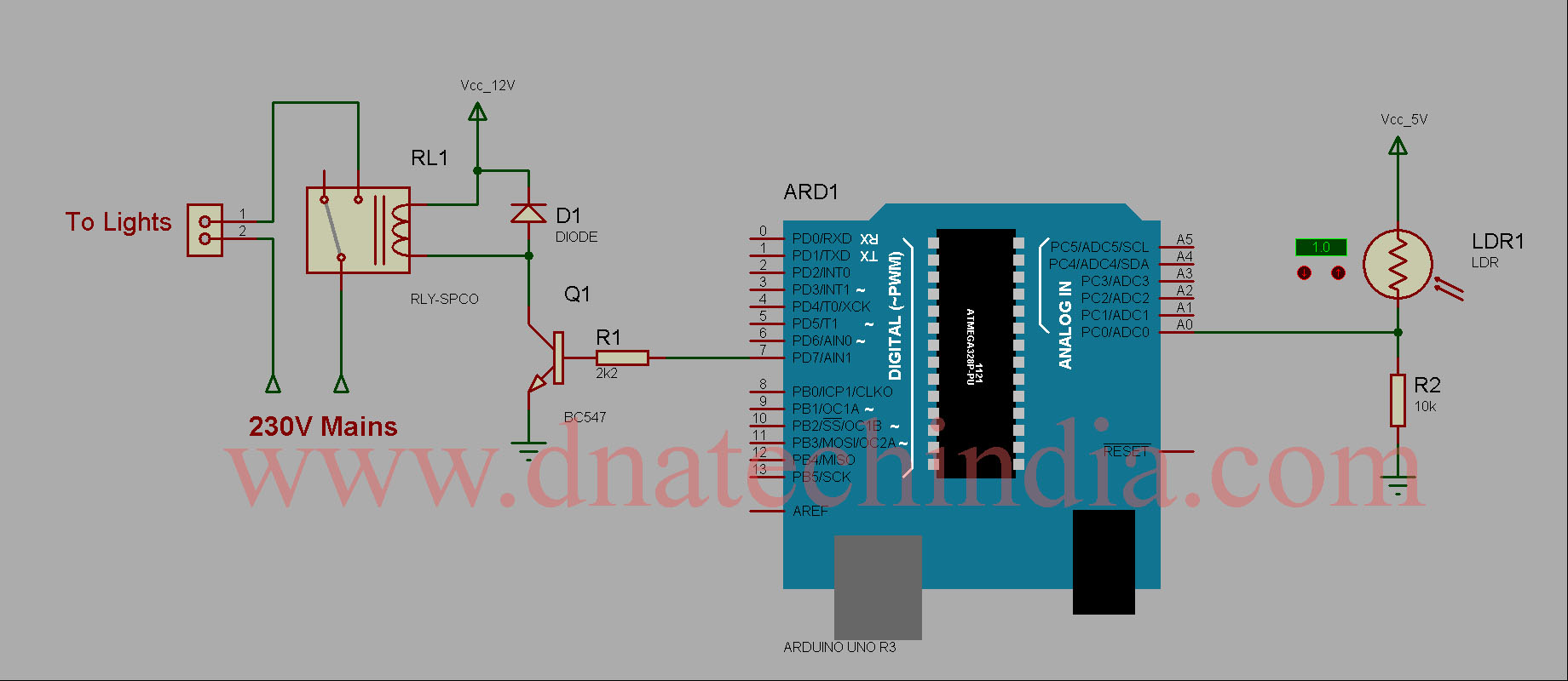 Tested Working Project Arduino Based Dark Switch Relay A Light Dependent Resistor Ldr Is Used Over Here To Measure The Ambient Condition And Accordingly Turn On Off An Ldrs Resistance Changes