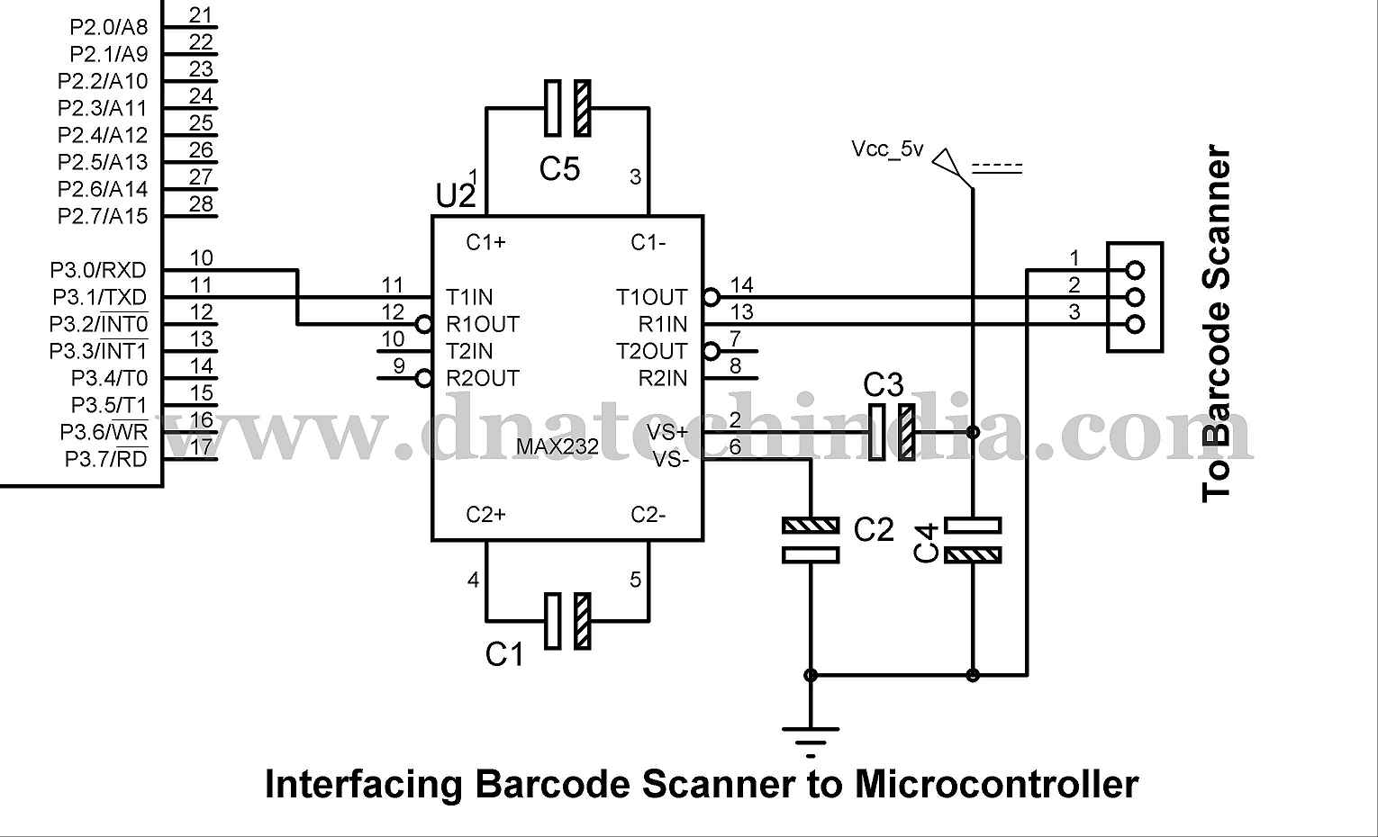 Interfacing Barcode Scanner To Microcontroller Rs232 Serial Cable Pinout Information Below You Can See How We Interface The An 8051 Based Microcontrollers Over Here Have Used 89s52