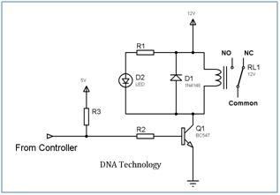 Interfacing relay to microcontroller relaydrivercircuitusingsingletransistor ccuart