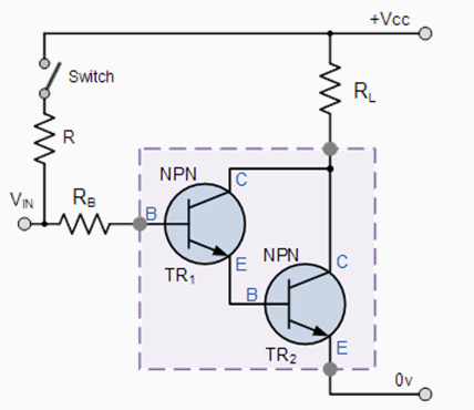 Darlington output voltage and load connection
